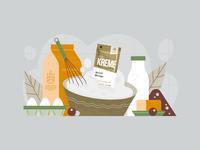 Pruvit - Waffle Day postcard bowl dough whisk berry butter milk egg food brush vintage vector texture flat illustration