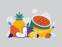 Fruit lemon banana blueberry strawberry pineapple vector watermelon melon pier apple brush texture flat illustration