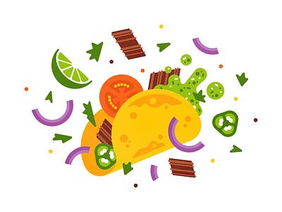 Taco Tuesday print spicy jalapeno onion salsa carnitas meat tomato lime food taco vector flat illustration
