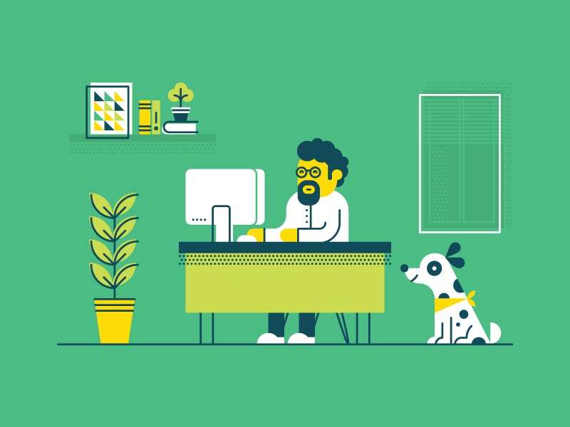 Workspace poster book window illustration flat man beard glasses dog plant computer desk