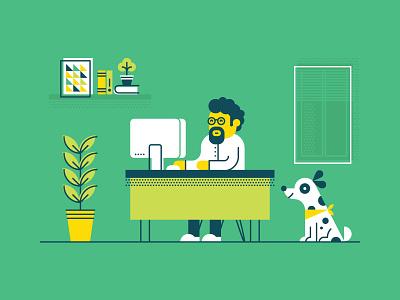 Workspace poster book window illustration flat man beard glasses dog plant computer desk