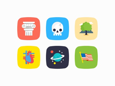 More badges for Socratic planet star tree space pillar usa flag real heart education skull badge illustration icon set