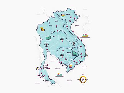 Southeast Asia - Route Map map vintage compass laos vietnam cambodia thailand travel texture editorial spot illustration