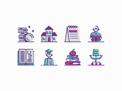 Latvian Book Market - Libraries apple building money student calendar book office chair icon set line spot editorial illustration