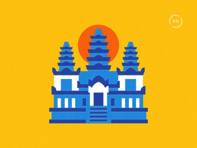 Been There - Cambodia asia siem reap building sun angkor wat cambodia layout map infographic travel vintage flat