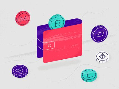 Digipulse - Cryptocurrency Wallets ethereum blockchain litecoin ripple crypto grain texture bitcoin coin money wallet illustration