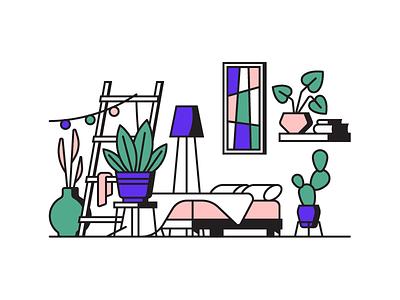 Room interior furniture pillow ladder floor lamp flowerpot vase cactus plant bed outline illustration