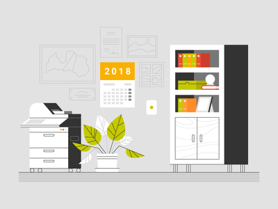 Office interior furniture explainer animation photocopier bookshelf map flowerpot plant book calendar illustration