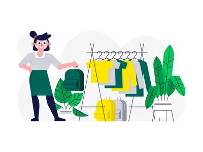 Print On Demand - Product Catalog web vector flat rack girl backpack t shirt character plant texture halftone illustration