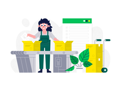 Print On Demand - We Handle Fulfillment conveyor belt cargo cart box illustration halftone texture plant character girl flat vector web