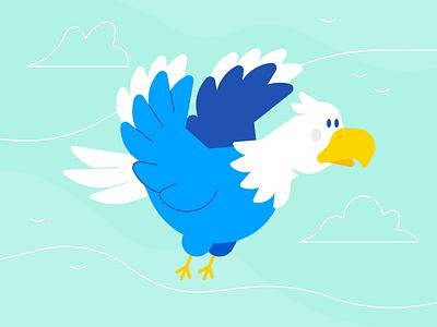 Eagle Not Eagle flying feather beak animation explainer sky cloud bird line flat character illustration