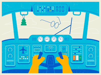 Airplane Cockpit windshield wiper cabin motion graphic animation controls display steering wheel steering air freshener glasses hands airplane cloud sky aircraft flight deck line texture flat illustration
