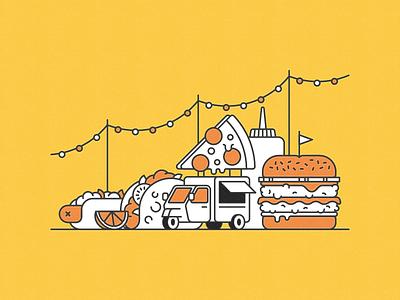 Pocket Cookbook - Guilty Pleasure munchies festival string lights flag taco vehicle ketchup lemon lime food truck pizza slice hot dog burger food line vector vintage texture flat illustration