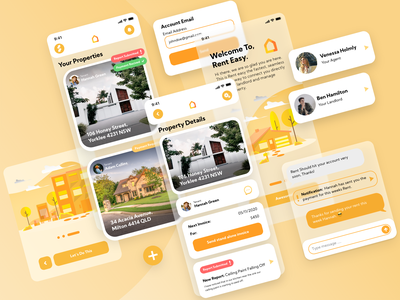 Rent Easy | Application UI - UX digital konnect easy rent orange minimal app typography ux vector branding ui logo illustration design