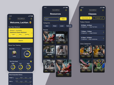 Olympia Body Transformation | Application UI - UX ux  ui ui typography minimal logo konnect illustration digital design branding app