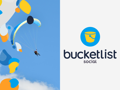 Bucketlist Social | Brand blue illustration digital typography app design minimal konnect branding