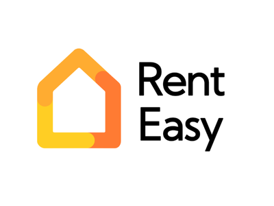 Rent Easy | Brand orange illustration digital typography design app minimal konnect branding