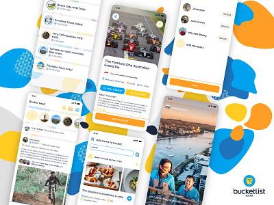Bucket List Social social apps orange blue ux ui digital app design konnect
