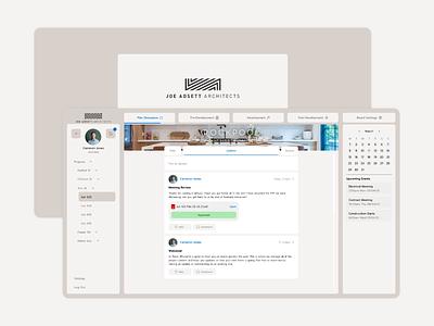 Joe Adsett Architects Client Portal project posts newsfeed social calendar portal client architecture architect web apps ux ui digital minimal app design konnect