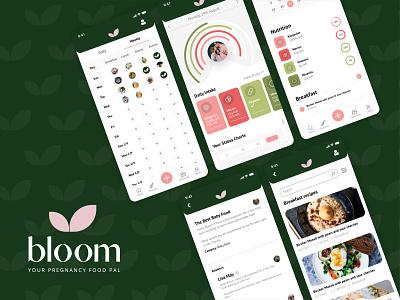 Bloom - Pregnancy Pal forums meals mealplanner recipe vitamins food uiux data charts pregnancy logo illustration ux ui digital branding minimal app design konnect