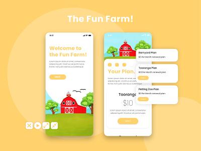 Fun Farm illustration kids app childrens game apps ux ui digital minimal app design konnect