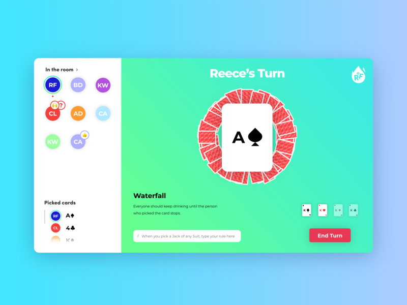 Ring of Fire - Gameplay Screen gradients together player friends quarantine covid-19 game drinking design concept logo web digital app branding ux ui