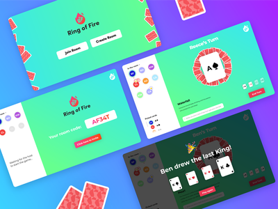 Ring of Fire - Final Screens game design drinking game play together online cardgame cards screens covid-19 coronavirus players game ui web app ux ui digital design
