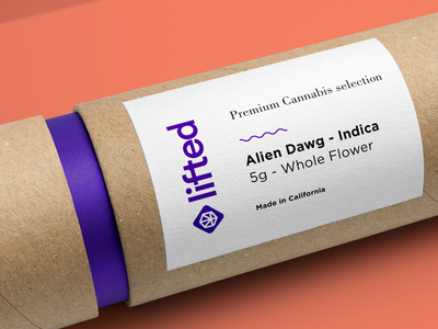 Lifted Packaging - 5g Cardboard Tube packagingdesign cannabis packaging lifted minimal logo minimal logo 3d branding brand cannabis logo cannabis