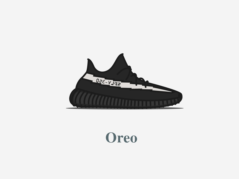 Yeezy Boost 350 - V2 - Core Black (Oreo) 2016 icon design concept digital oreo colourway calabasas typography illustration adidas shoes kanyewest yeezy boost