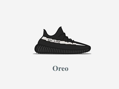 Yeezy Boost 350 - V2 - Core Black (Oreo) 2016 icon design concept digital oreo colourway calabasas typography illustration adidas shoes kanyewest yeezy boost