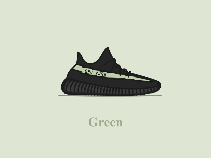 Yeezy Boost 350 - V2 - Core Black (Green) typography digital design vector concept illustration yeezus sneakers shoes core black green v2 yeezy boost 350