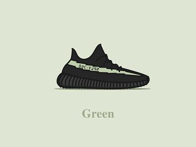 Yeezy Boost 350 - V2 - Core Black (Green) typography digital design vector concept illustration yeezus sneakers shoes core black green v2 yeezy boost 350