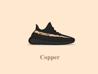 Yeezy Boost 350 - V2 - Core Black (Copper) shoes sneakers colourway copper v2 yeezy boost 350 vector icon concept logo design illustration digital design typography