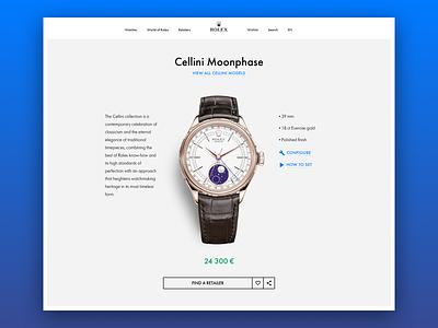 Rolex (product page) web design swiss ecommerce luxury watch desktop ux ui rolex
