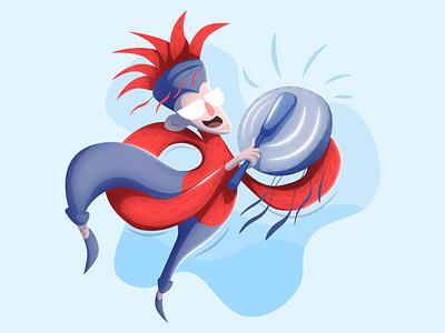 Shaman red blue simple minimal flat wizard dance illustration shaman