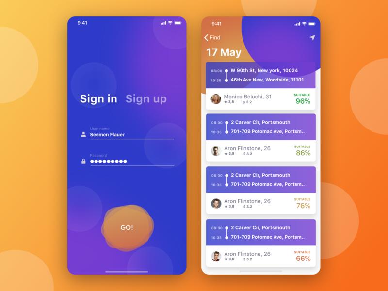 Ways ui ux app ios mobile design list sign in login cards car taxi