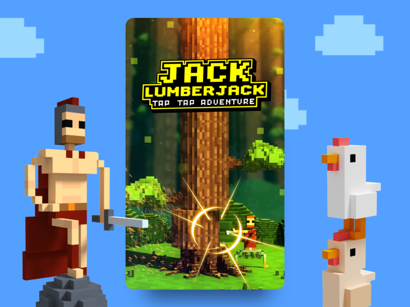 Jack Lumberjack illustration chicken 3d unity voxel mobile magicavoxel unity 3d game design lumberjack tree game forest
