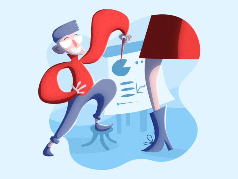 Presentation discussion hipster simple minimal blue red flat infographic data style illustration