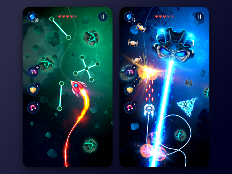 Rocket X gameplay unity meteorite alien illustration space interface ui mobile shooter arcade indie game