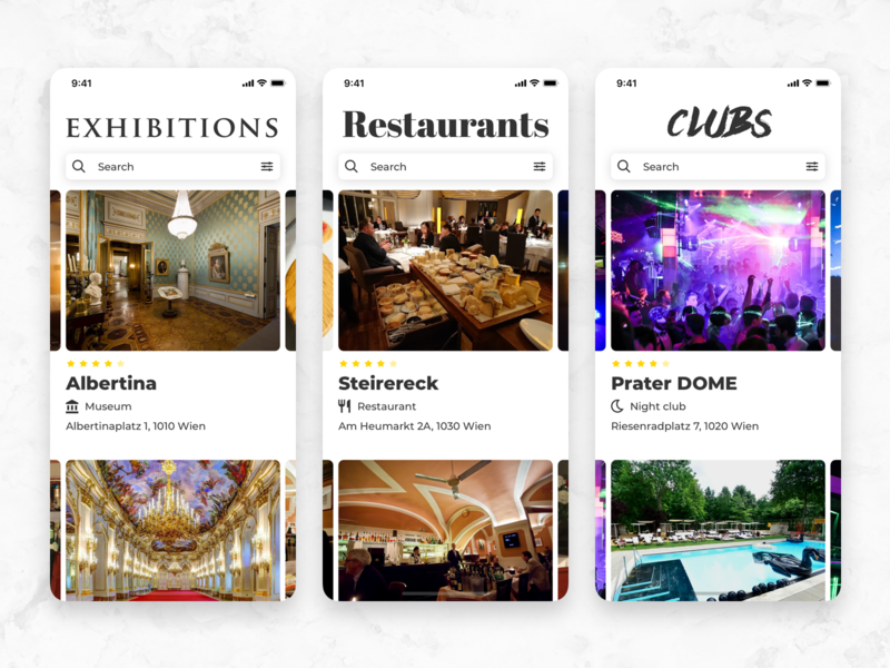Where to have fun? cards tiles clubs restaurants exhibition typography iphone design ios app ux mobile interface ui