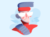 Rambo commander soldier war military style flat red blue minimal simple rambo vector illustration