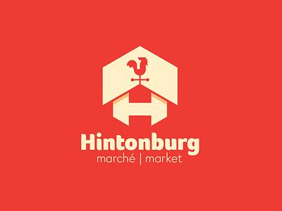 Hintonburg Market barn rooster fresh natural identity branding nature grocery market logo design logo