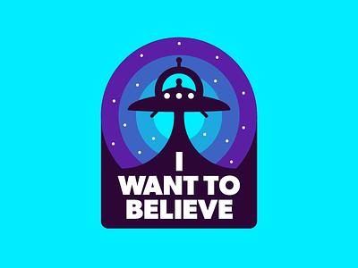 I want to believe geometric space alien retro badge tv x-files illustration graphic sticker