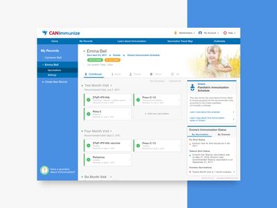 CANImmunize - Web mobile health canada healthcare medical family record account vaccines immunizations dashboard uiux web design