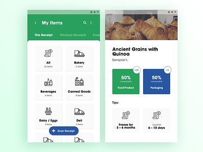 Zero Waste App navigation sheet ui card ui card list minimal application scan grocery design android visual design ui ux app waste