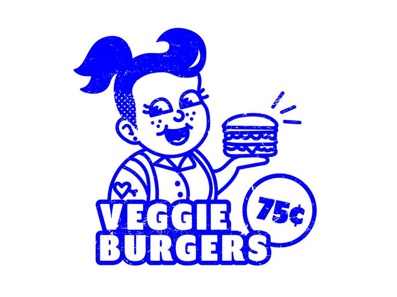 Vintage Veggie Burger Girl retro design food ad food queer girl cute lgbt lgbtq vegan burger veggie burger advertisement ad vintage illustration retro