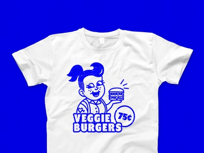 Vintage Veggie Burger Girl Shirt retro inspired veggie burger queer lgbt lgbtq graphic advertisement ad food burger shirt design shirt color colour texture retro vintage