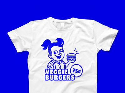 Vintage Veggie Burger Girl Shirt