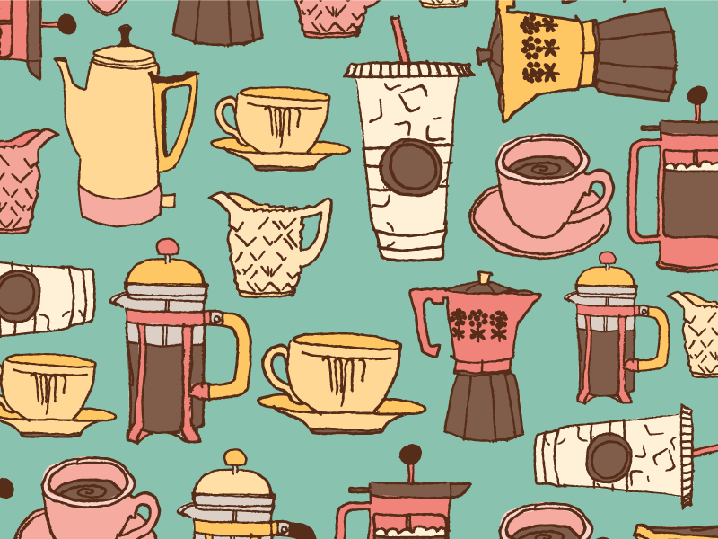 Coffee coffee ink illustration pattern design surface