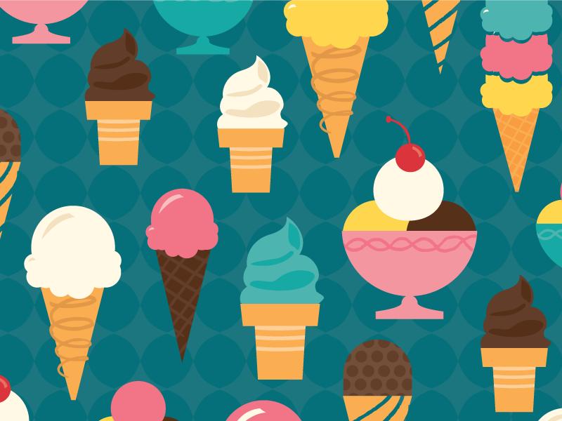 Yum ice cream illustration cherry summer design pattern surface